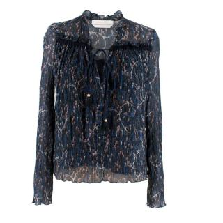 See by Chloe Printed Sheer Plisse Blouse