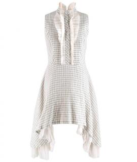 Natasha Zinko Grey Checked Sleeveless Shirt Dress