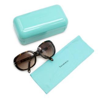 Tiffany Tortoiseshell Oval Sunglasses with Crystal Detail