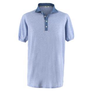 Cesare Attolini blue marl polo shirt