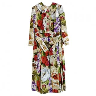 Dolce & Gabbana Floral Print Belted Midi Dress