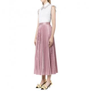 Christopher Kane Pleated Checked Metallic Pink Skirt