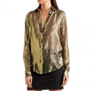 Saint Laurent Metallic silk-blend lam� shirt