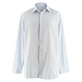 Donato Liguori White Flower Print Bespoke Tailored Shirt