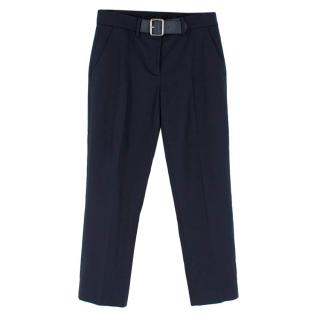 Moncler Navy Straight Leg Belted Trousers