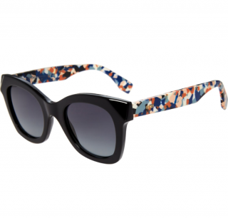 Fendi Black Square Sunglasses with Printed Arms
