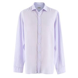 Z Zegna lilac slim fit linen shirt