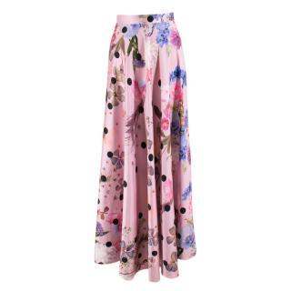 Natasha Zinko Pink Satin Floral Midi Skirt