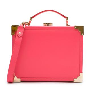 Aspinal Pink Leather Trunk Clutch