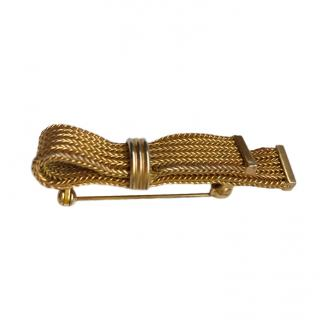 Christian Dior Vintage Gold Mesh Pin Brooch