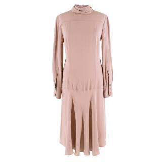Fendi Dusky Pink Silk Blend Dress With Neck Tie