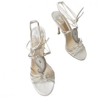 Jimmy Choo White Lace-Up Envy Sandals