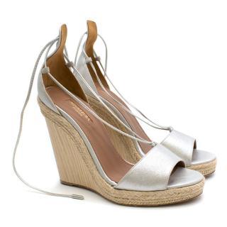 Aquazzura Silver Lace-Up Open Toe Wedge Sandals
