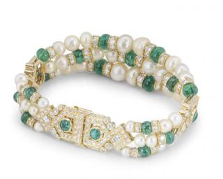 Bespoke Diamond, Emerald & Pearl Bracelet