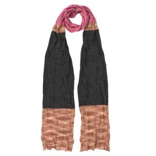 Missoni Pink Grey Orange Soft Knit Scarf
