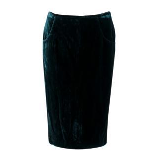 Alexander McQueen Royal Green Velvet Midi Skirt