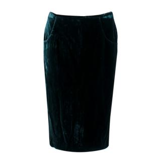 Alexander McQueen Royal Green Velvet Midi Skirt