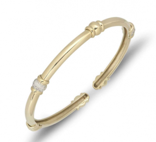 Bespoke Yellow Gold Diamond Torque Bangle