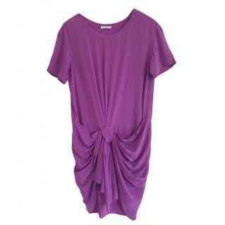 Vionnet Purple Draped Knot Front T-Shirt Dress