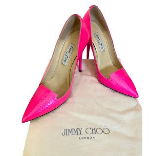 Jimmy Choo Neon Pink Textured Pumps