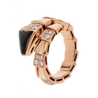 Bvlgari Serpenti Viper Diamond & Onyx Ring in 18kt Rose Gold