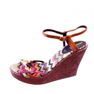 Missoni Cork Knit Wedges in Pink Multi