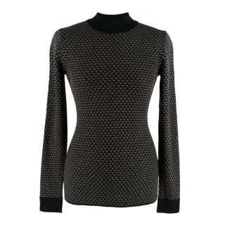 Roland Mouret Black High Neck Gold Stitched Knit Jumper
