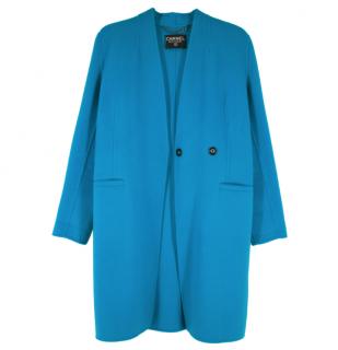 Chanel Boutique Blue Wool Midi Coat
