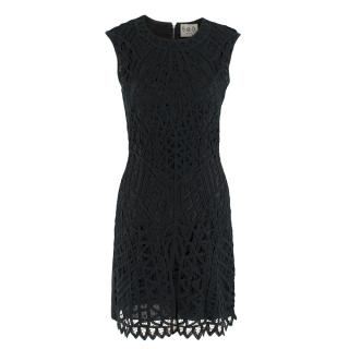 Sea New York Black Lace Fitted Sleeveless Dress