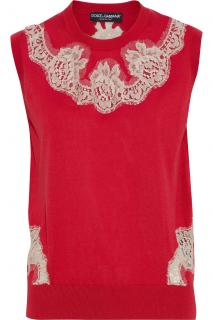 Dolce & Gabbana Red Lace Trim Knit Sleeveless Top