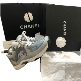 Chanel Grey & Blue CC Marbled Trainers - New Season