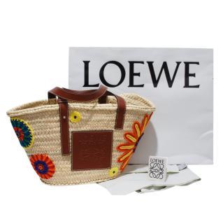 Loewe Embroidered Raffia Basket Bag