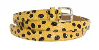 Dolce & Gabbana Yellow Spotted Snakeskin Waist Belt