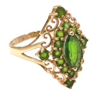 Bespoke Yellow Gold Diopside Marquise Ring