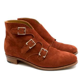 John Lobb brick orange suede flat booties