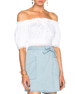 Alexander McQueen Off Shoulder White Broderie Anglaise Crop Top