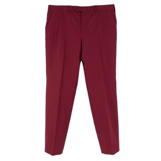 Donato Liguori bespoke tailored wine red tailored chinos