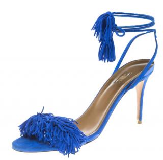 Aquazzura Blue Suede Wild Thing Sandals