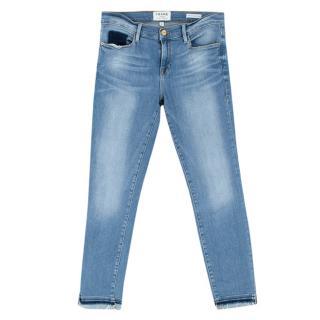 Frame Blue Faded Skinny Crop Jeans