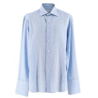 Donato Liguori Blue Striped Bespoke Tailored Shirt