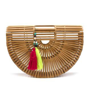 Cult Gaia Bamboo Small Gaias Ark Bag with Pink and Green Tassels