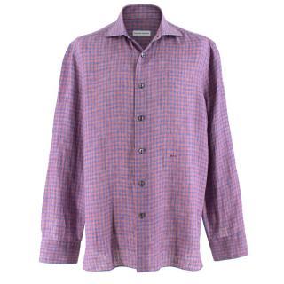 Donato Liguori Purple Box Check Bespoke Tailored Shirt