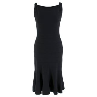 Alaia Black Stretch Knit Midi Dress