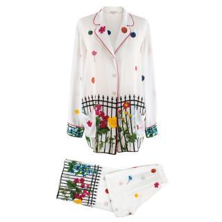 Natasha Zinko White Floral Print Spotted Pants & Top