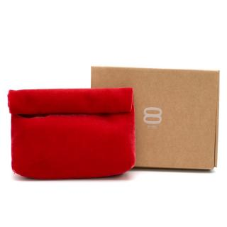 8 BY YOOX Red Velvet Suede Clutch Bag