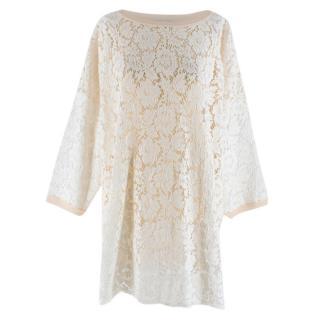 Valentino Cream Lace Panelled Jumper Dress