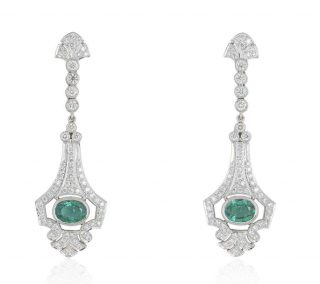 Bespoke White Gold Diamond & Emerald Earrings
