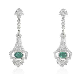Bespoke White Gold Diamond & Emerald Earrings
