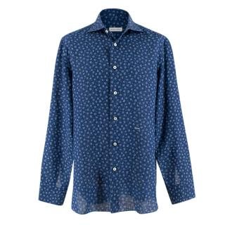 Donato Liguori Navy Shirt with Mini Flower Print