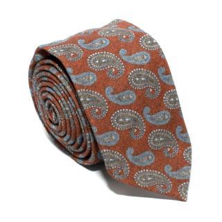 Barba Burnt Orange Paisley Print Tie